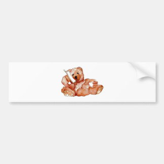 Honey Bear Talking on Phone Teddy Bear Pink Purple Bumper Sticker