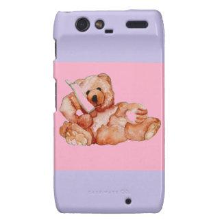 Honey Bear Talking on Phone Teddy Bear Pink Purple Motorola Droid RAZR Cover