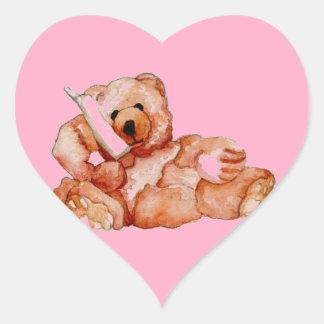 Honey Bear Talking on Phone Teddy Bear Pink Purple Heart Sticker