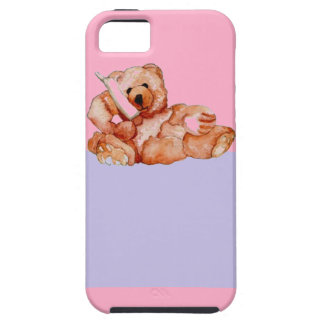 Honey Bear Talking on Phone Teddy Bear Pink Purple iPhone SE/5/5s Case