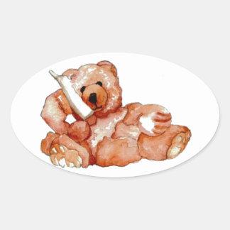 Honey Bear Talking on Phone Teddy Bear Pink Purple Oval Sticker