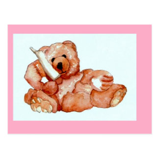 Honey Bear Talking on Phone Teddy Bear Pink Purple Postcard