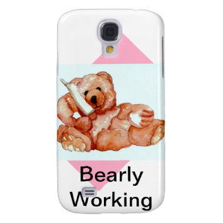 Honey Bear Talking on Phone Teddy Bear Pink Purple Samsung S4 Case