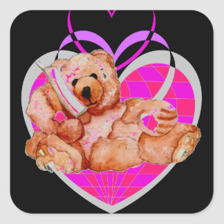 Honey Bear Talking on Phone Teddy Bear Pink Purple Square Sticker