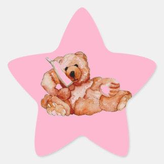 Honey Bear Talking on Phone Teddy Bear Pink Purple Star Sticker