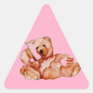 Honey Bear Talking on Phone Teddy Bear Pink Purple Triangle Sticker