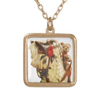 Honey Bear Teddy Astride Wooden Horse Square Pendant Necklace