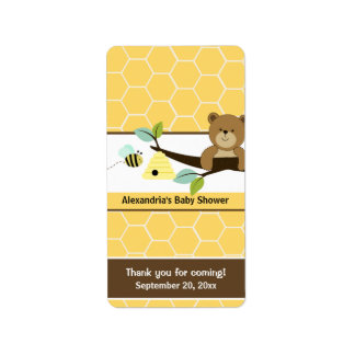 Honey Bee and Bear Miniature Candy Wrappers Address Label