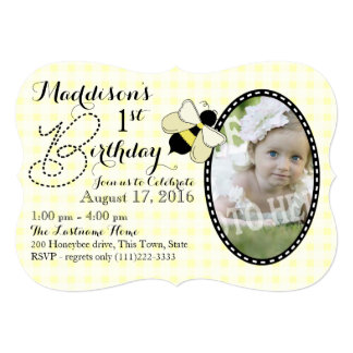Honey Bee and Gingham Birthday 5x7 Paper Invitation Card