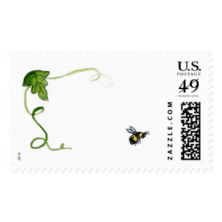 Honey Bee and Green Leaf  Vine Art Postage Stamps