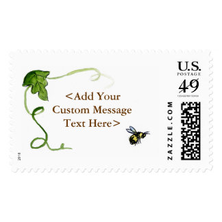 Honey Bee and Green Vine Custom Postage Stamps