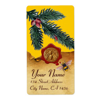 HONEY BEE AND PINE BRANCH,BEEKEEPER RED WAX SEAL LABEL