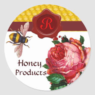 HONEY BEE AND PINK ROSE,BEEKEEPER RED WAX SEAL