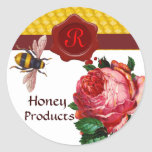 HONEY BEE AND PINK ROSE,BEEKEEPER RED WAX SEAL STICKER