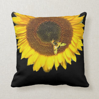 HONEY BEE AND SUNFLOWER THROW PILLOW