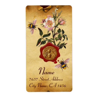 HONEY BEE AND WILD ROSES ,BEEKEEPER RED WAX SEAL LABEL