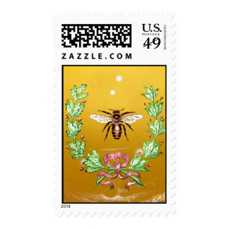 HONEY BEE AND WREATH WITH GREEN OAK LEAVES POSTAGE