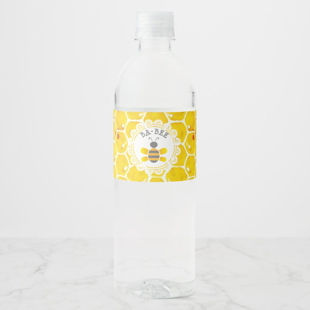 Honey Bee Baby Shower Water Bottle Labels