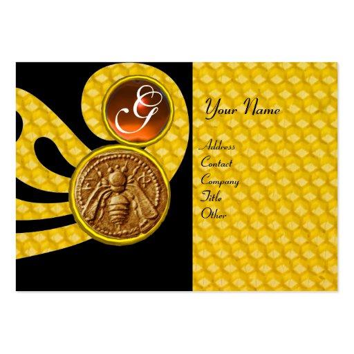 HONEY BEE ,BEEKEEPER APIARIST MONOGRAM BUSINESS CARD TEMPLATES