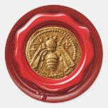 HONEY BEE BEEKEEPER BEEKEEPING RED BROWN WAX SEAL ROUND STICKERS