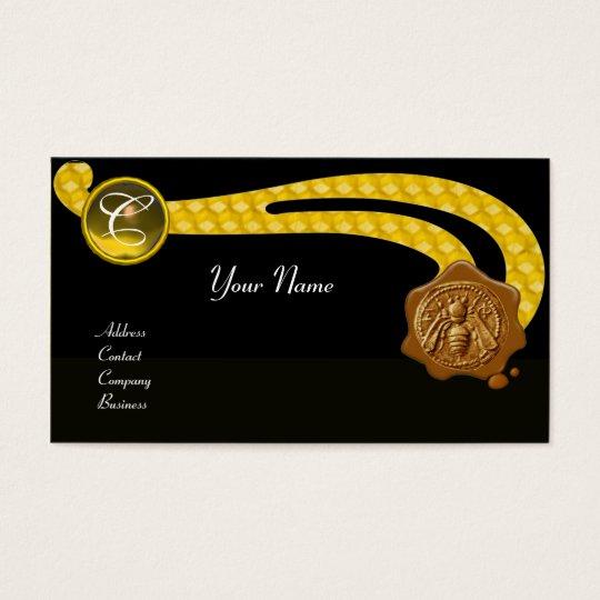 HONEY BEE,BEEKEEPER BROWN WAX SEAL MONOGRAM ,black Business Card