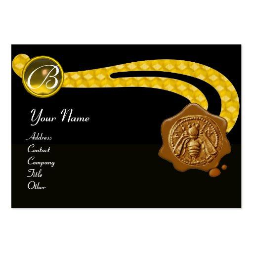 HONEY BEE,BEEKEEPER BROWN WAX SEAL MONOGRAM ,black Business Card Template