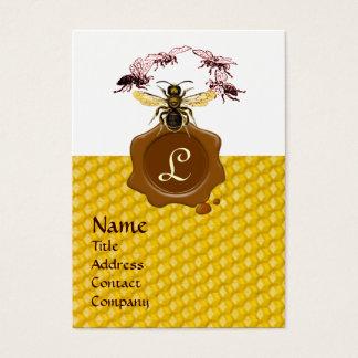 HONEY BEE ,BEEKEEPER BROWN WAX SEAL MONOGRAM BUSINESS CARD