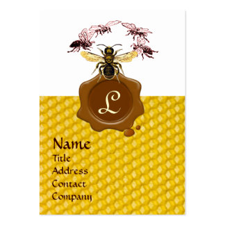 HONEY BEE ,BEEKEEPER BROWN WAX SEAL MONOGRAM LARGE BUSINESS CARD