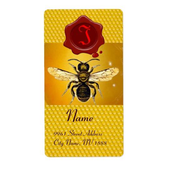 HONEY BEE ,BEEKEEPER,RED WAX SEAL  MONOGRAM LABEL