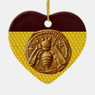 HONEY BEE, BEEKEPER Heart Ceramic Ornament