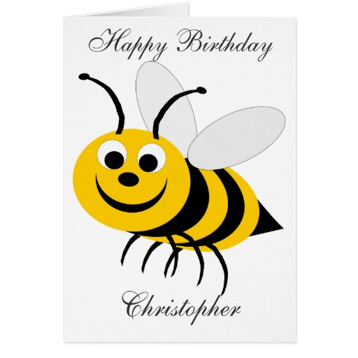 Honey Bee Birthday Card Just Add Name