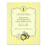 "Honey Bee Birthday Invite 4.25"" X 5.5"" Invitation Card"