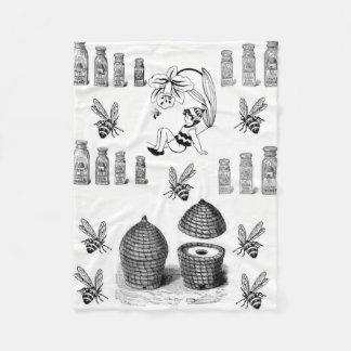 Honey bee black white decorative fleece blanket