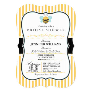 Honey Bee Bridal Shower Invite; Yellow Stripes Card