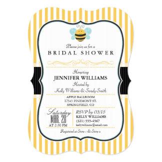 Honey Bee Bridal Shower Invite; Yellow Stripes Card