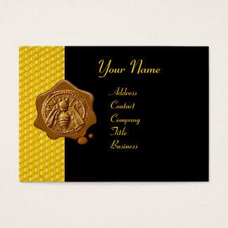 HONEY BEE BROWN WAX SEAL / Cupid the Honey Thief Business Card