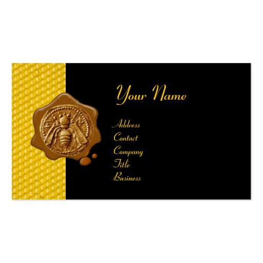 Honey bee brown wax seal cupid the honey thief business for Bee business cards