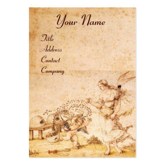 HONEY BEE BROWN WAX SEAL / Cupid the Honey Thief Large Business Card