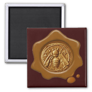 HONEY BEE BROWN  WAX SEAL 2 INCH SQUARE MAGNET
