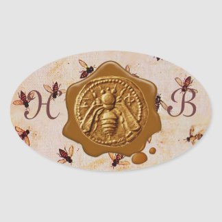 HONEY BEE, BROWN WAX SEAL MONOGRAM OVAL STICKERS