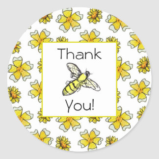 Honey Bee Buttercups Watercolor Flower Thank You Classic Round Sticker