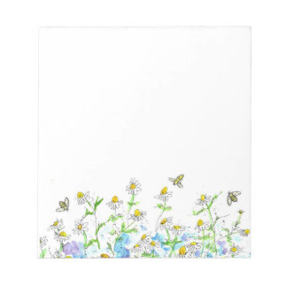 Honey Bee Chamomile Flowers Watercolor Herbs Notepad