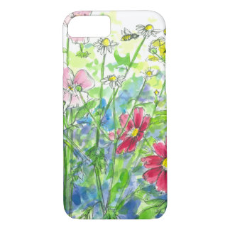 Honey Bee Chamomile Red Cosmos Watercolor Flowers iPhone 8/7 Case