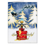 Honey Bee Christmas Card - Honey Bee And And Santa