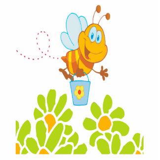 honey bee collecting honey in garden cartoon photo sculpture