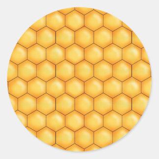 honey bee comb texture classic round sticker
