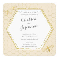 Honey Bee Cream Gold Custom Wedding Invitation