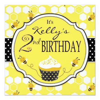 Honey Bee Cupcake Second Birthday Invitation