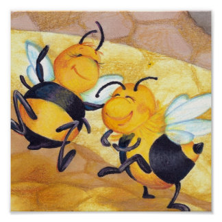 Honey Bee Dance / Artist Print - Square