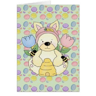 honey bee easter bunny rabbit card